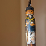 Vintage Wooden Polo Figure Pulley Cord